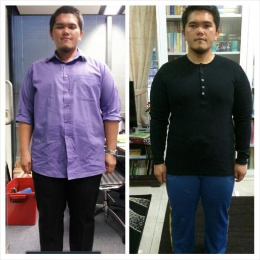 42 hari lepas, dan gambar hari ke 41. Berat sebelum 106kg. Hari ini 102.6kg, dengan kehilangan body fat sebanyak 3.06kg.